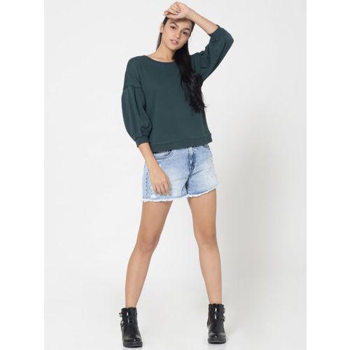 ONLY Women Green Solid Sweatshirt