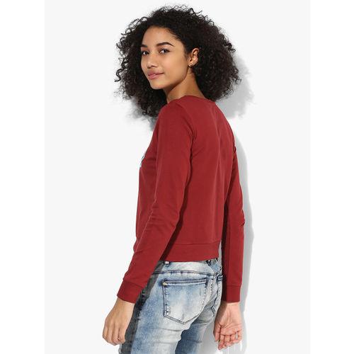 ONLY Maroon Printed Sweatshirt