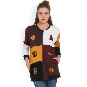 ONLY Women Mustard Yellow & Maroon Colourblocked Sweatshirt