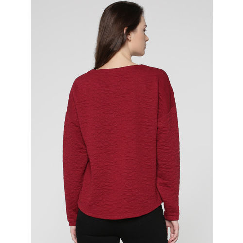 ONLY Women Maroon Self Design Sweatshirt