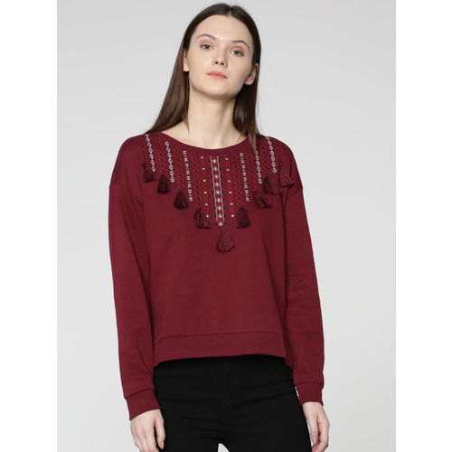 ONLY Women Maroon Embroidered Sweatshirt