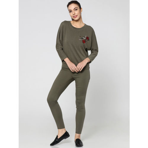 ONLY Women Olive Green Embroidered Sweatshirt