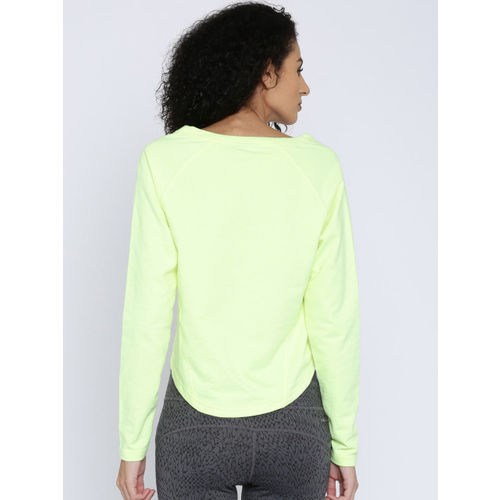 ONLY PLAY Women Lime Green Solid Crop Sweatshirt