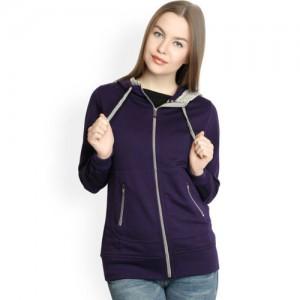 Belle Fille Women Purple Hooded Sweatshirt