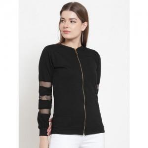 Belle Fille Women Black Solid Sweatshirt