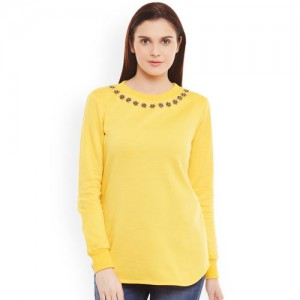 Belle Fille Yellow Sweatshirt with Embellished Detail