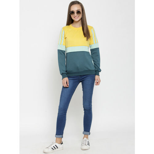 Belle Fille Women Yellow & Teal Colourblocked Sweatshirt