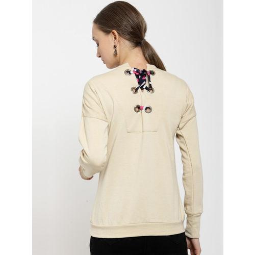 Belle Fille Women Beige Solid Sweatshirt