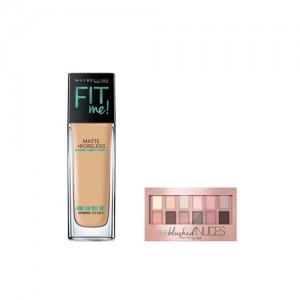 Maybelline The Blushed Skin Colors Palette Eyeshadow & Fit Me 228 Soft Tan Matte Foundation