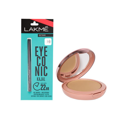 Lakme Eyeconic Deep Black Kajal & Natural Almond Primer + Matte Powder Foundation Compact