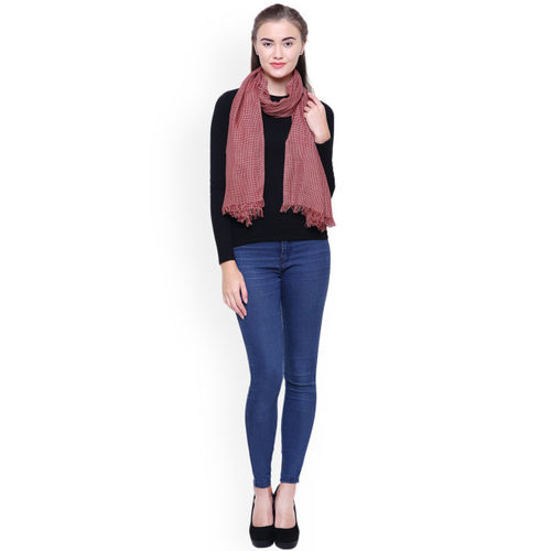 Anekaant Women Red & White Checked Stole