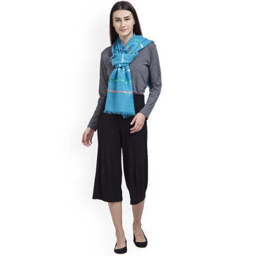 SHINGORA Women Turquoise Blue Woven Design Stole