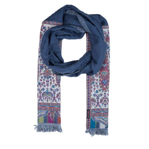 SHINGORA Women Blue Woven Design Woollen Stole