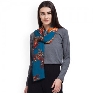 SHINGORA Women Blue & Orange Printed Stole
