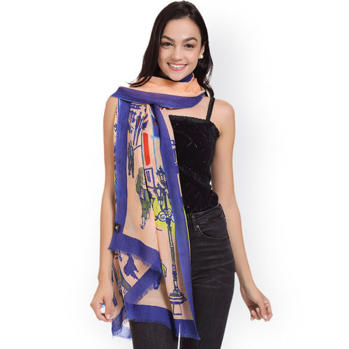 SHINGORA Women Peach-Coloured & Purple Printed Woollen Stole