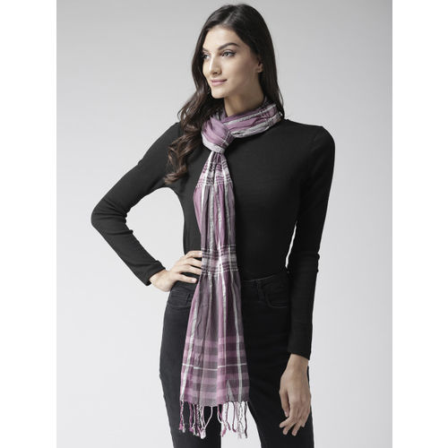 Style Quotient Women Purple & White Checked Stole