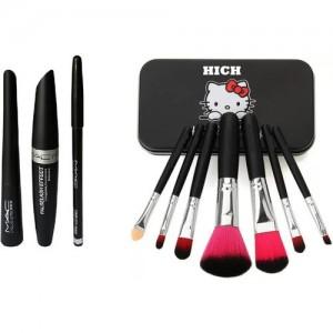7c1fd95e7 hich Makeup Brush Set & MAC Liquid Eye Liner & Mac Mascara & Mac Eyebrow  Pencil