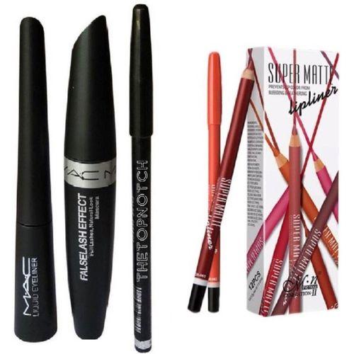 9eb18f203 TheTopNotch Eyebrow Pencil Black & Mac Liquid EyeLiner & Mac Mascara (MAC  3in1) &