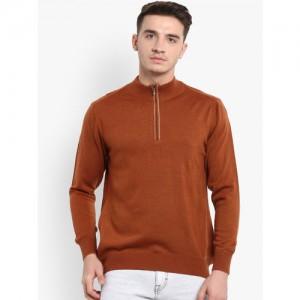 Monte Carlo Men Rust Brown Solid Pullover