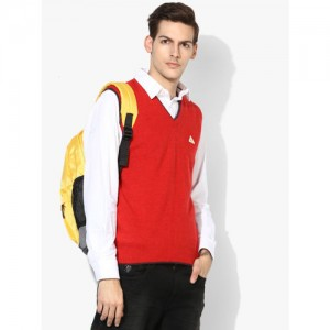 Monte Carlo Red Solid V-Neck Sweater