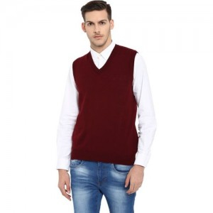 Monte Carlo Solid V-neck Casual Men's Maroon Sweater