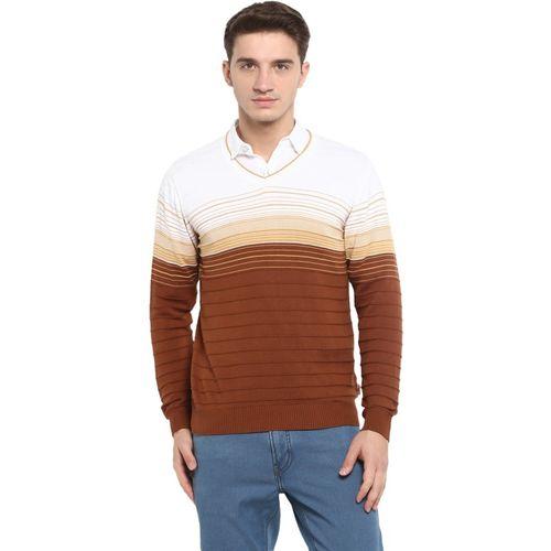 Monte Carlo Striped V-neck Casual Men White, Brown Sweater