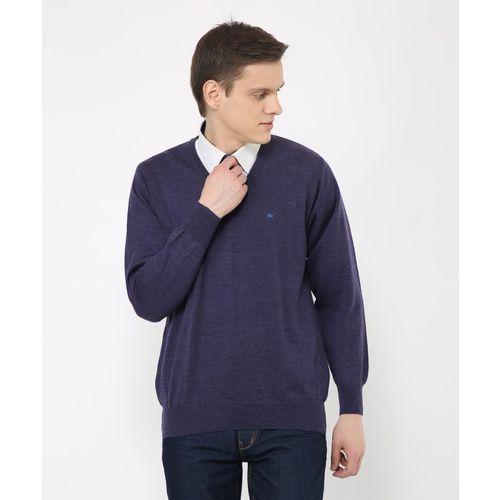 Monte Carlo Solid V-neck Casual Men's Purple Sweater