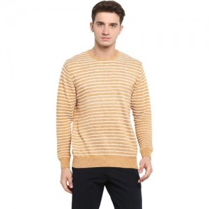 Monte Carlo Striped Round Neck Casual Men Brown Sweater