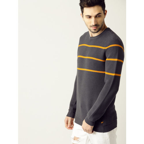 United Colors of Benetton Men Charcoal Grey Self Striped Pullover
