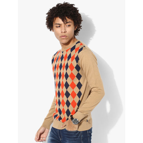 United Colors of Benetton Beige Printed Regular Fit Round Neck Sweater