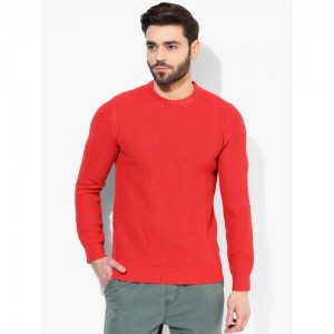 United Colors of Benetton Red Solid Round Neck Sweater