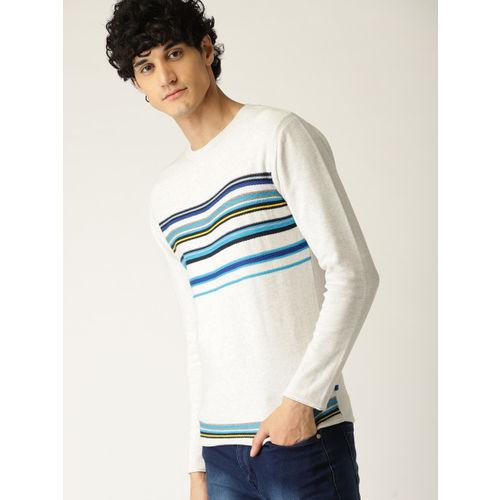 United Colors of Benetton Men White & Blue Striped Pullover