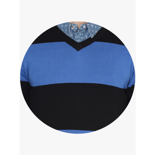 United Colors of Benetton Blue Striped V Neck Sweater