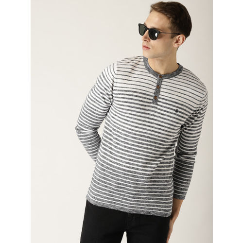 United Colors of Benetton Men Grey & White Striped Pullover
