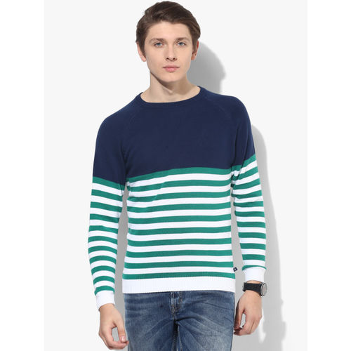 United Colors of Benetton Navy Blue Striped Slim Fit Round Neck Sweater