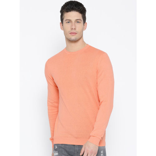 United Colors of Benetton Men Peach-Coloured Solid Sweater
