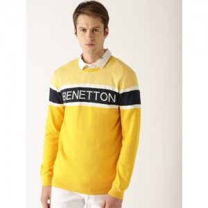 United Colors of Benetton Men Yellow & Navy Blue Self Design Pullover