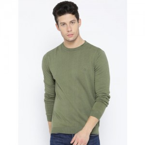 United Colors of Benetton Men Olive Green Solid Sweater