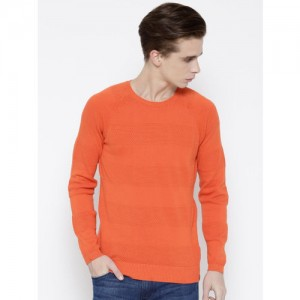 United Colors of Benetton Men Orange Patterned Sweater