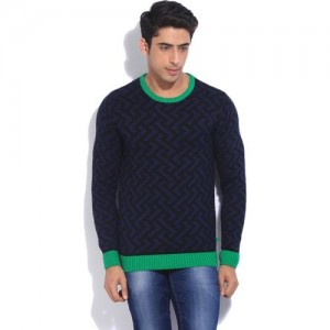United Colors of Benetton Printed Round Neck Casual Men Black, Blue, Green Sweater