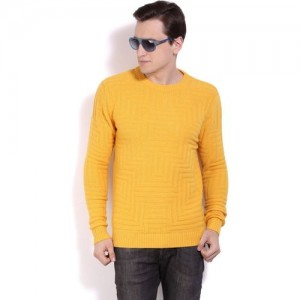United Colors of Benetton Self Design Round Neck Casual Men Yellow Sweater