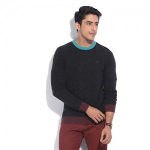 United Colors of Benetton Solid Round Neck Casual Men Black, Blue Sweater