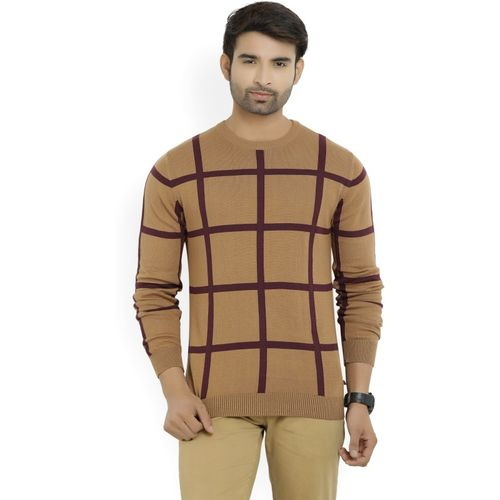 United Colors of Benetton Self Design Round Neck Casual Men's Brown Sweater
