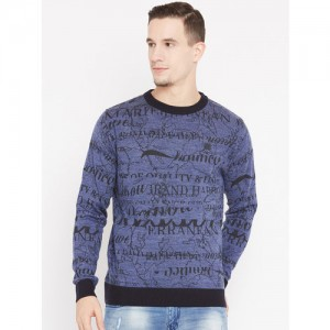 Duke Men Blue & Black Printed Pullover