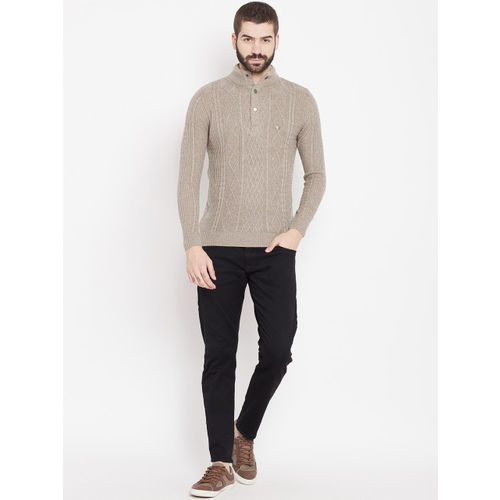 Duke Stardust Men Taupe Cable Knit Pullover