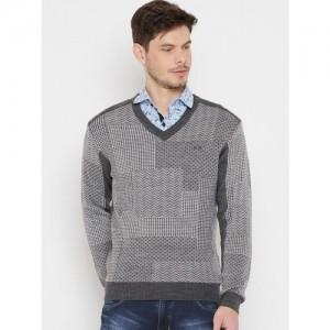 Duke Men Grey & White Self Design Pullover