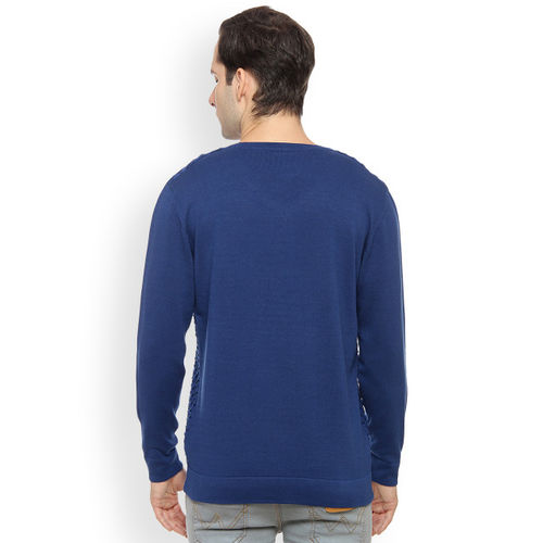 Duke Men Blue Solid Pullover