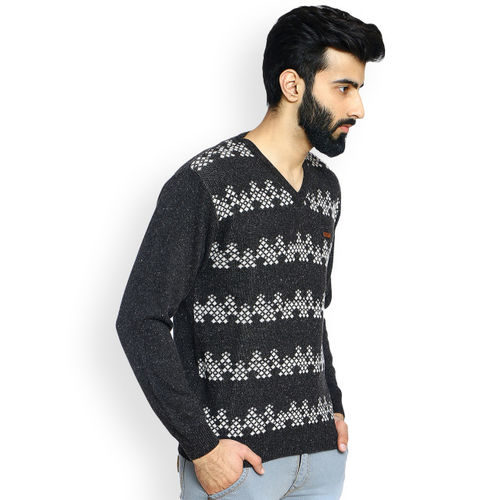Duke Men Charcoal Grey Self Design Pullover