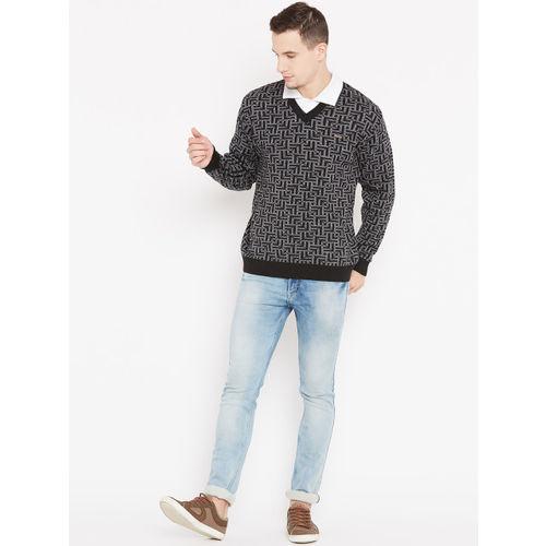 Duke Men Black & White Self Design Pullover