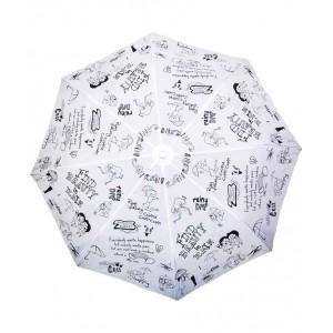 Cheeky Chunk White & Black Nylon Rain Doodle Umbrella